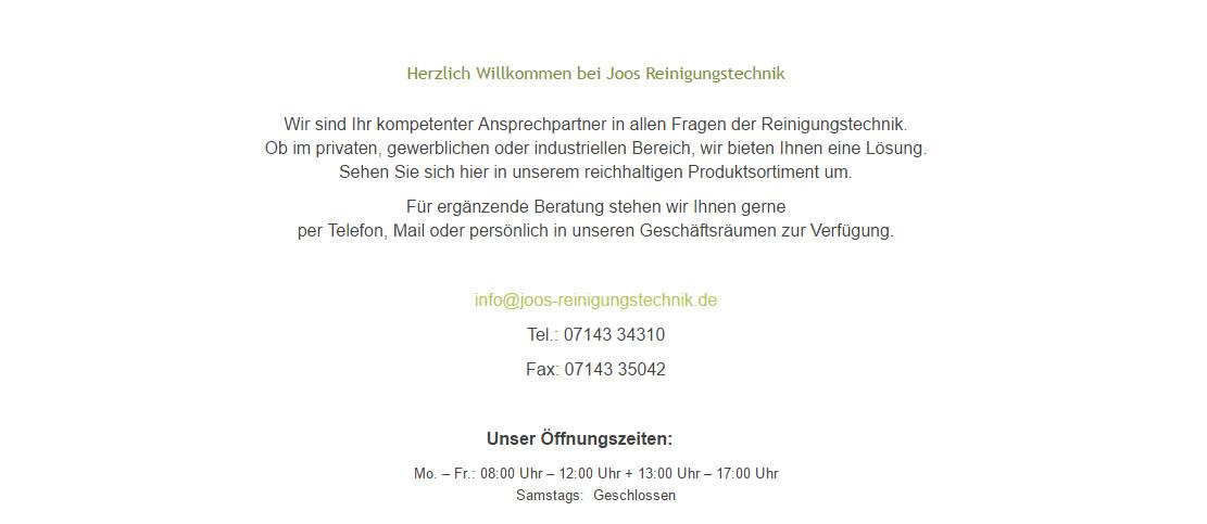 Joos-Reinigungstechnik, Ihr Partner für KÄRCHER Reinigungsgerät  74391 Erligheim